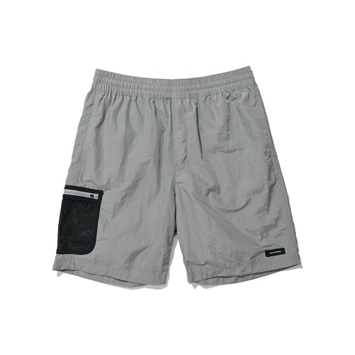 BLND Mesh Side Pocket Nylon Short Pants - Gray
