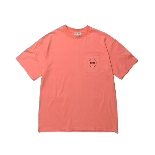 BLND Pocket Circle Logo Short  Sleeves - Coral Pink