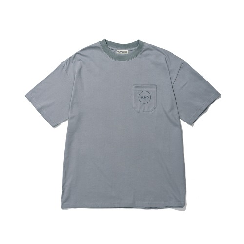 BLND Pocket Circle Logo Short  Sleeves - Cool Gray