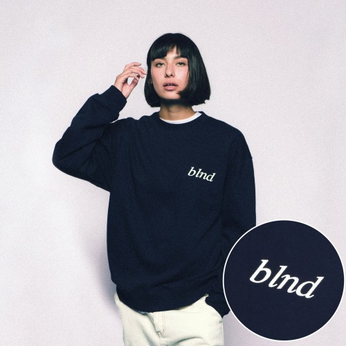 Lettering Logo Heavy Weight Sweatshirt - Navy