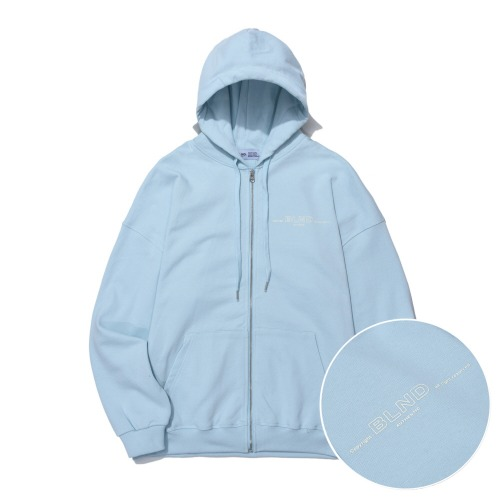 Heavy Weight Minimal Hoodie Zip-Up - Sky Blue