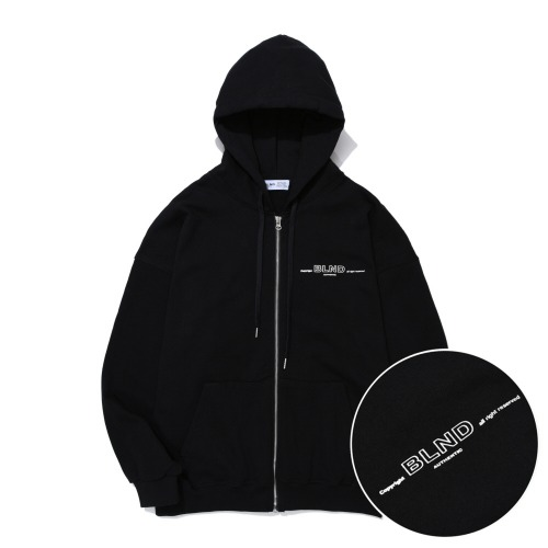 Heavy Weight Minimal Hoodie Zip-Up - Black