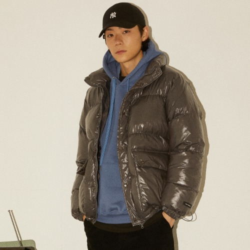 GLOSSY ALTERNATIVE DOWN JACKET - GREY