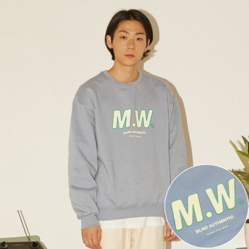 M.W LOGO HEAVY SWEATSHIRT - SKYBLUE