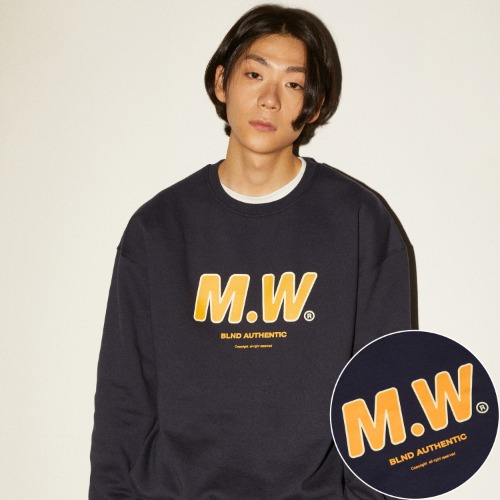 M.W LOGO HEAVY SWEATSHIRT - NAVY