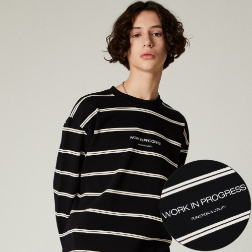 SLOGAN STRIPE LONG SLEEVES - BLACK