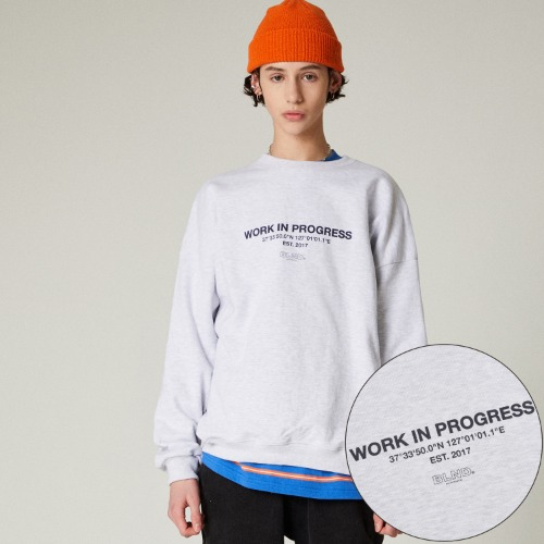 SLOGAN LOGO HEAVY SWEAT SHIRT - OATMEAL