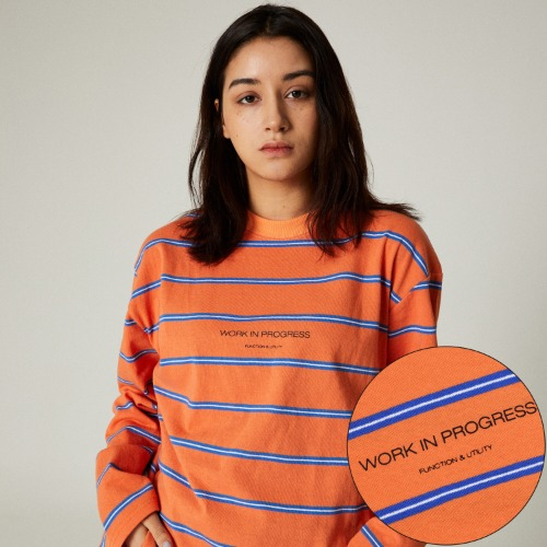 SLOGAN STRIPE LONG SLEEVES - ORANGE