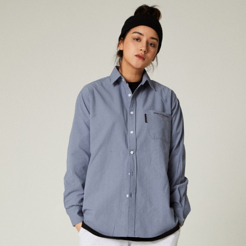 SLOGAN POCKET SHIRTS - BLUE