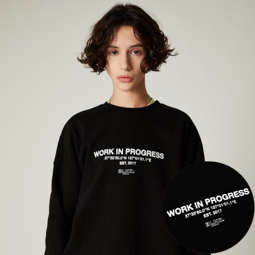 SLOGAN LOGO HEAVY SWEAT SHIRT - BLACK