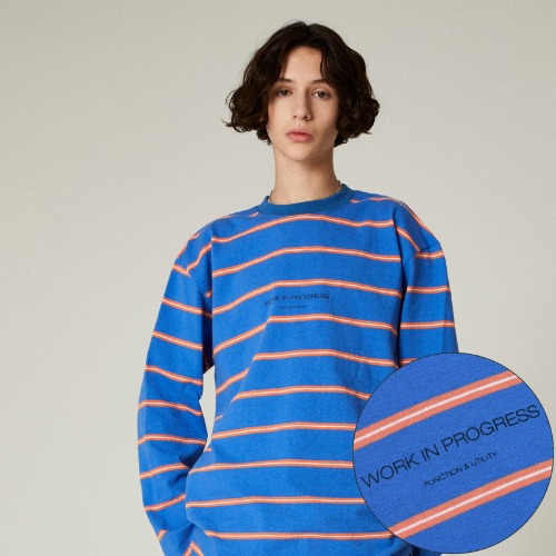 SLOGAN STRIPE LONG SLEEVES - BLUE