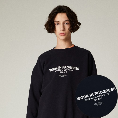 SLOGAN LOGO HEAVY SWEAT SHIRT - NAVY