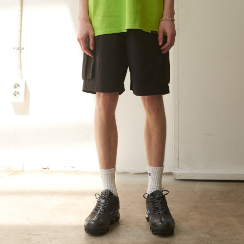 Side Cargo Half-Pants - Black