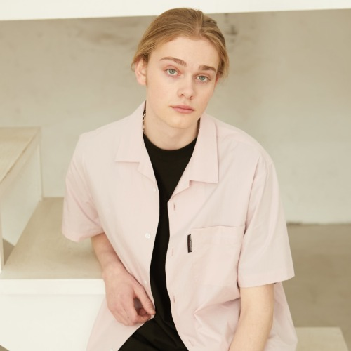 Slogan Logo Open Collared Shirts - IndiPink
