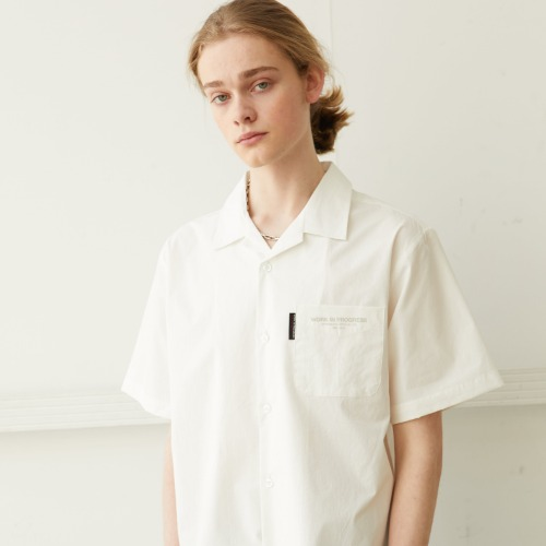 Slogan Logo Open Collared Shirts - White