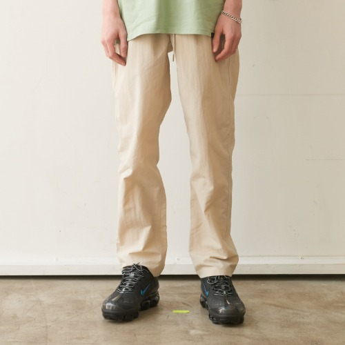 Unisex Tapered Banding Pants - Beige
