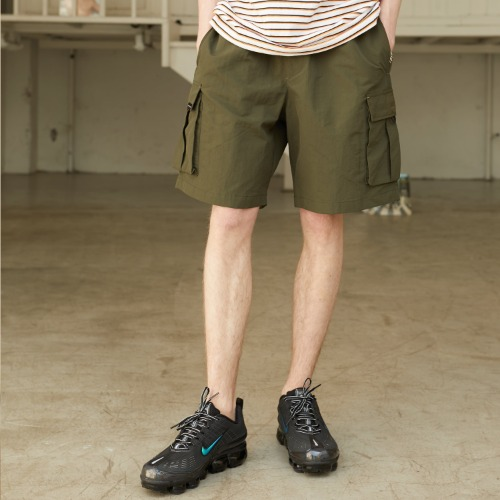 Side Cargo Half-Pants - Khaki