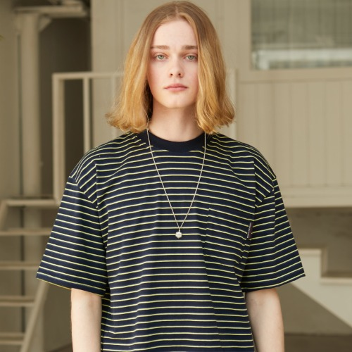 Stripe Pocket T-shirts - Navy