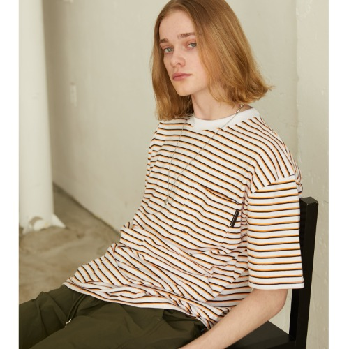 Stripe Pocket T-shirts - White