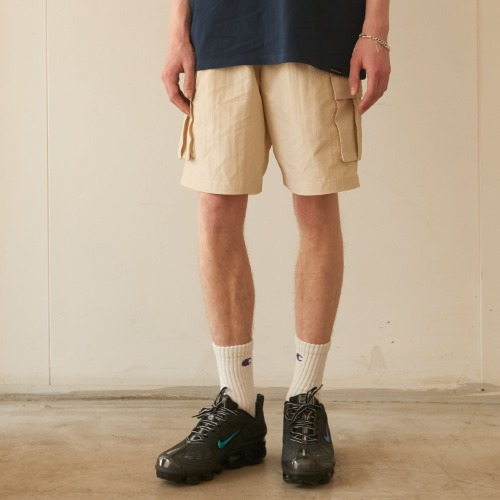 Side Cargo Half-Pants - Beige