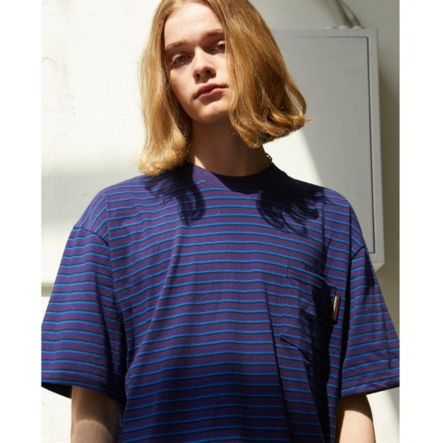 Stripe Pocket T-shirts - Purple