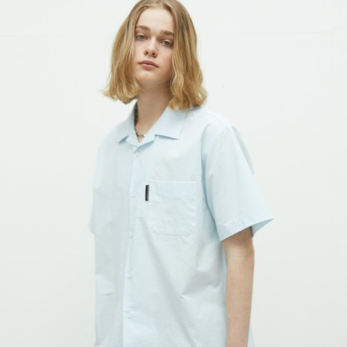 Slogan Logo Open Collared Shirts - Sky Blue