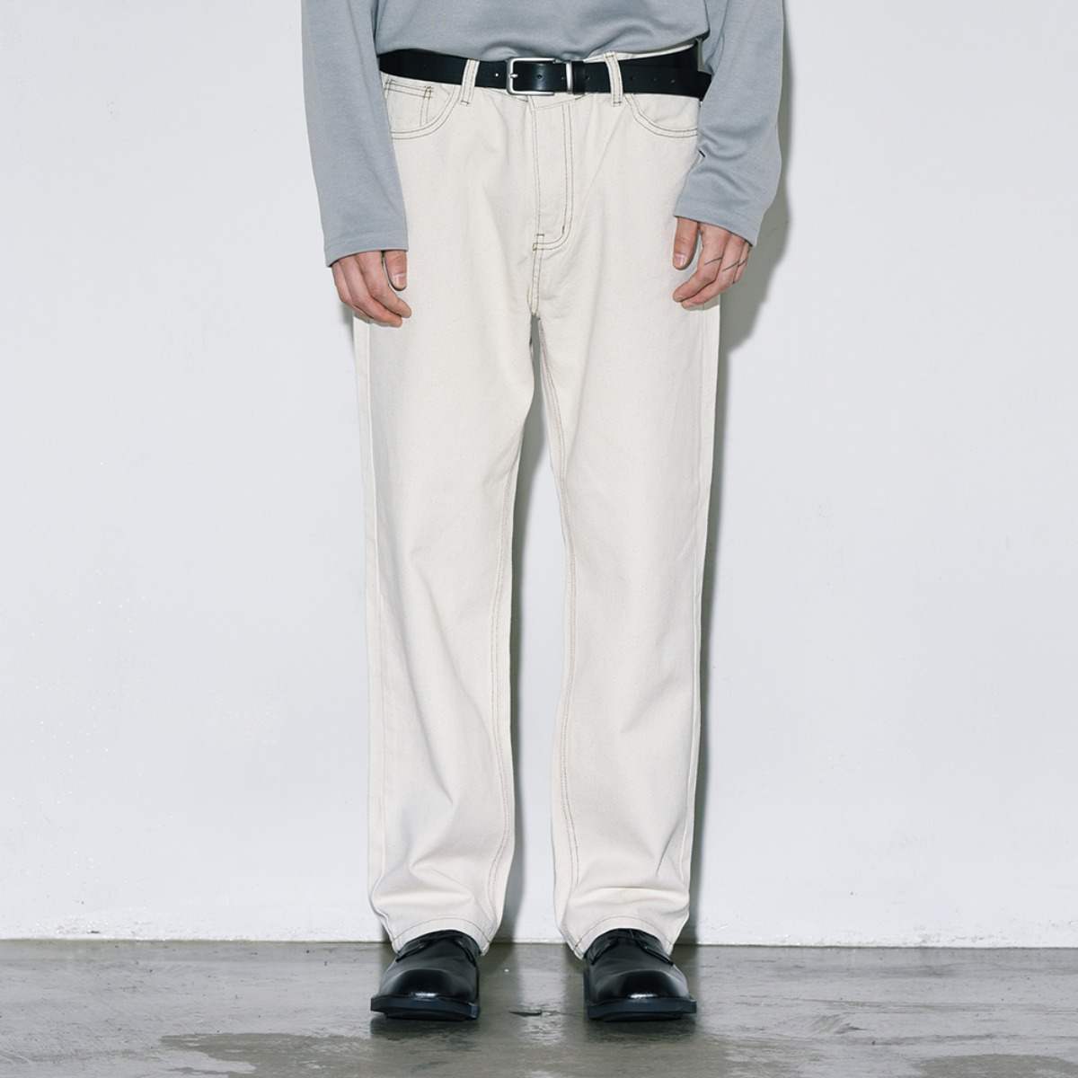Contrast Stitched Cotton Pants - Natural Beige