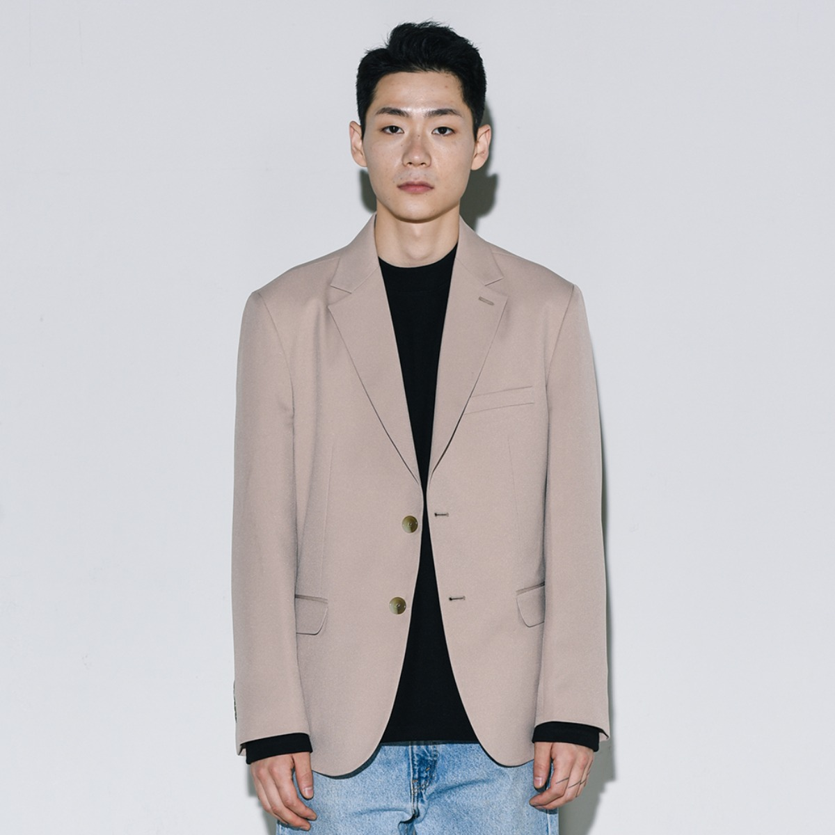 Solid Single Blazer - Beige