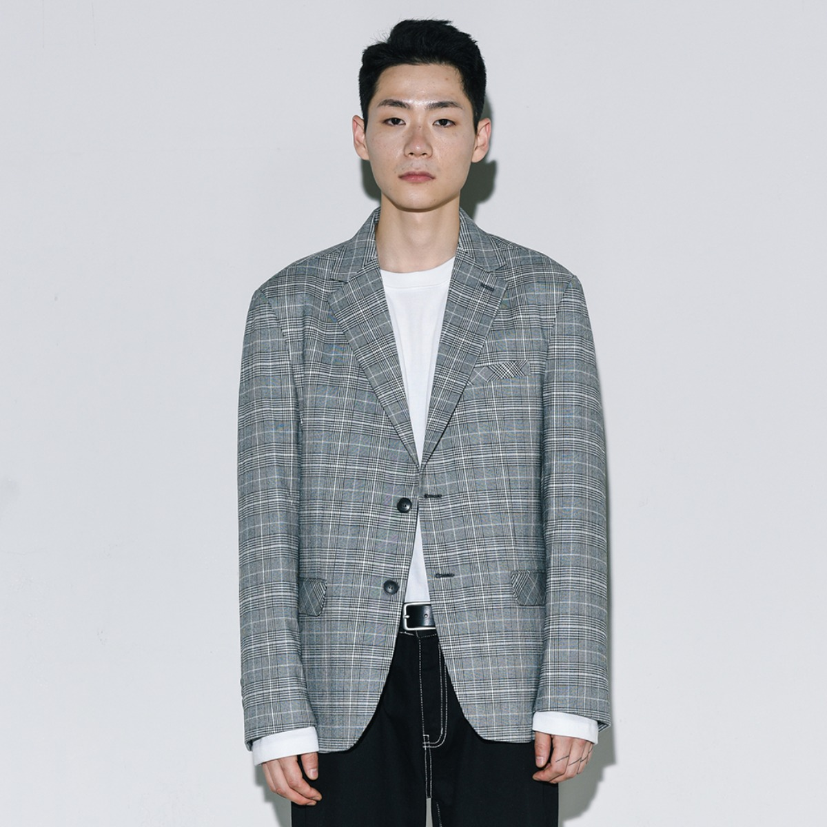 Glen Check Single Blazer - Light Grey