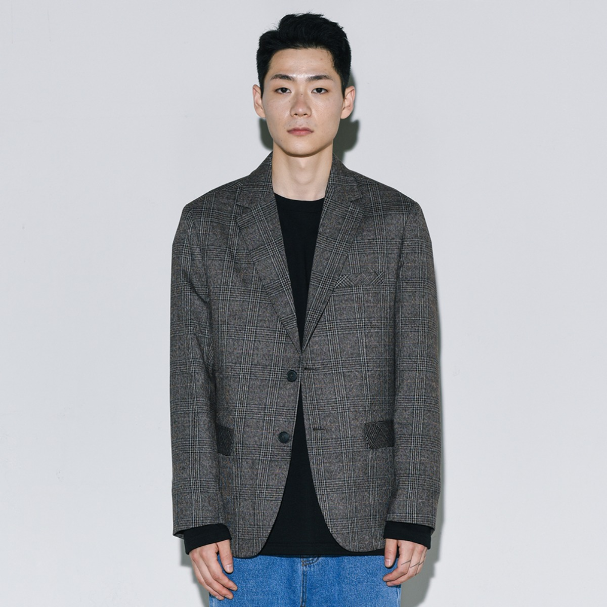 Glen Check Single Blazer - Brown