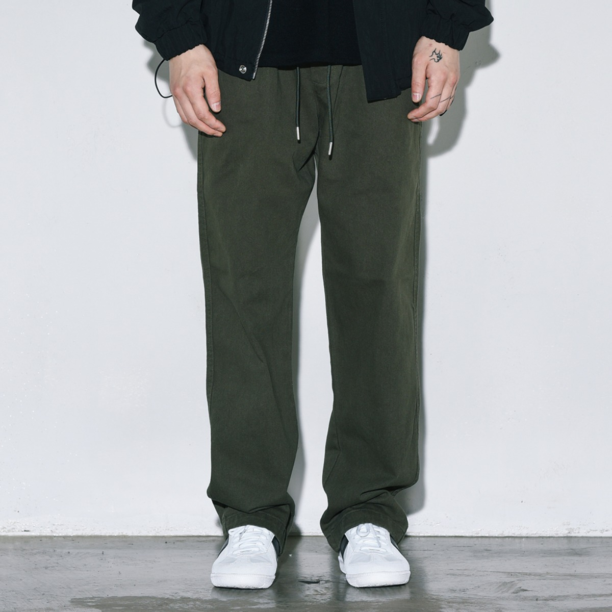 Bio Washed Banding Pants - Khaki