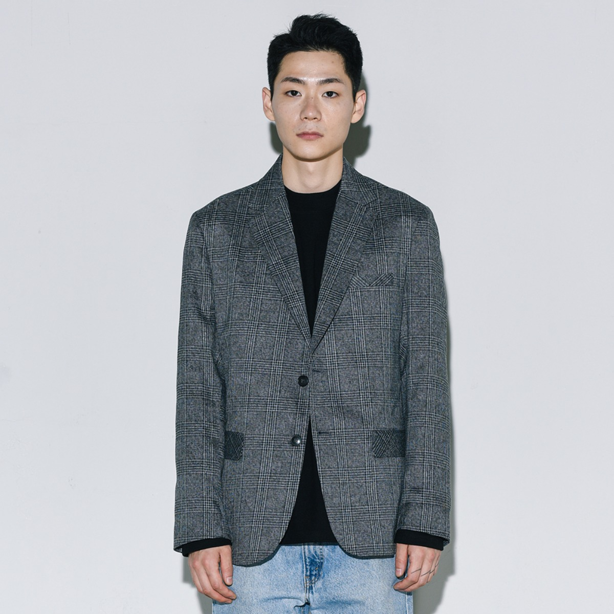 Glen Check Single Blazer - Dark Grey