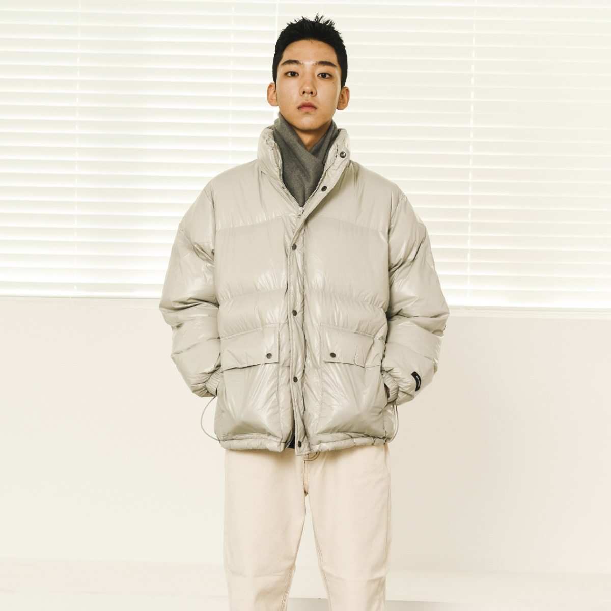 Glossy Alternative Down Jacket - Light Beige
